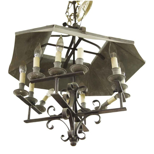 Wrought iron 12 light arts crafts chandelier chairish black wrought iron arts crafts style chandelier with large shade aloadofball Images