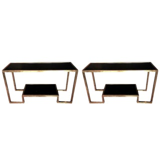 Brass and Glass Consoles - a Pair For Sale