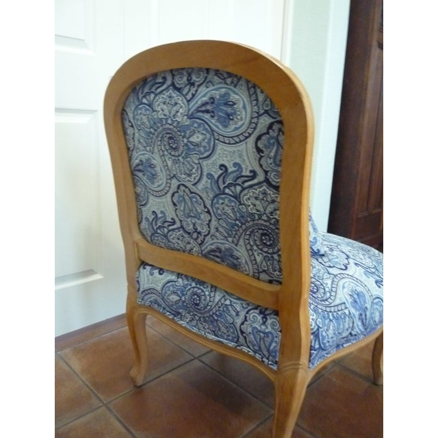 Late 20th Century Vintage Blue Paisley French Provincial Armless Chair For Sale - Image 5 of 8