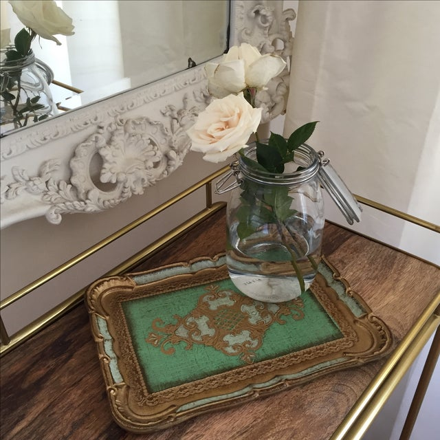 Green & Gold Italian Florentine Tray - Image 3 of 6