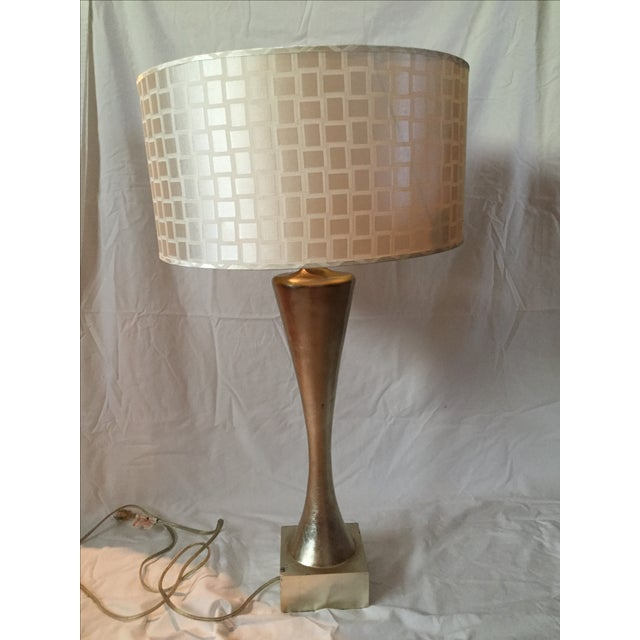 Mid-Century Gold Leaf Design Table Lamps - Pair - Image 3 of 6