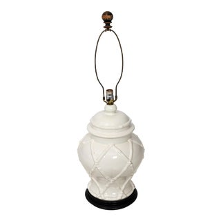 1960s Vintage White Hollywood Regency Faux Bamboo Lamp For Sale