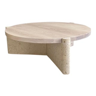 Modern Limestone and Wood Coffee Table For Sale