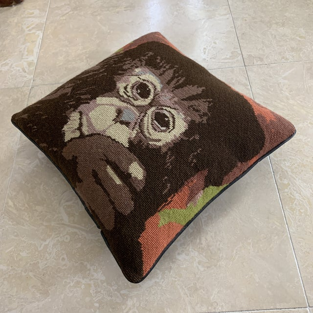 Vintage Mid Century needlepoint pillow featuring a Monkey with jungle / nature background, black vinyl backing imitating...