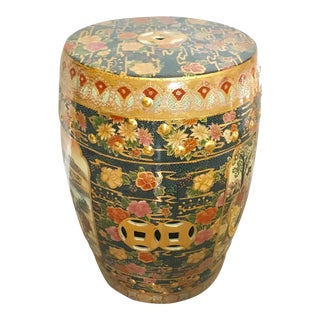 Vintage Chinoiserie Hand Painted Overall Gilt Ceramic Stool / Side Table