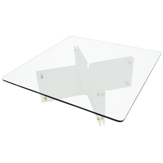Large Glass & Acrylic Coffee Table by Neal Small - Image 1 of 6
