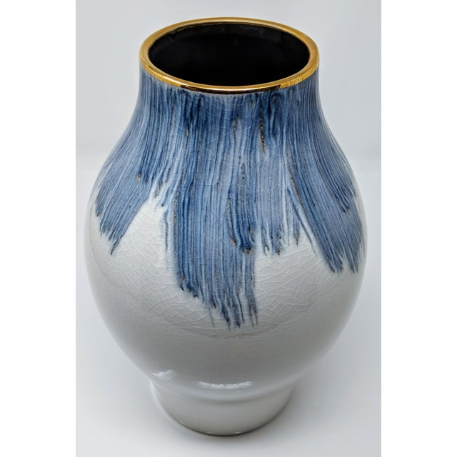 Gold Trimmed Blue And White Hand Painted Vase Chairish