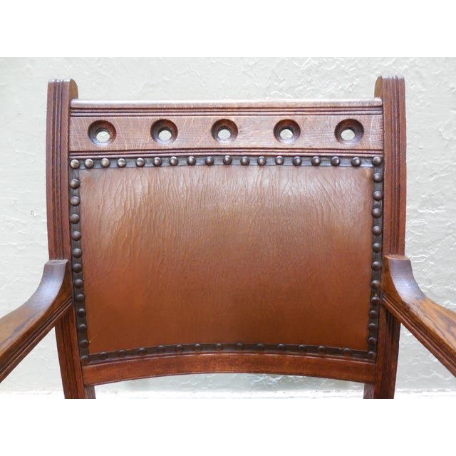 Antique Victorian Oak Dining Chairs - Set of 4 - Image 6 of 10