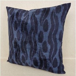 XL Navy Blue Silk Velvet Cintamani Accent Euro Pillow Preview