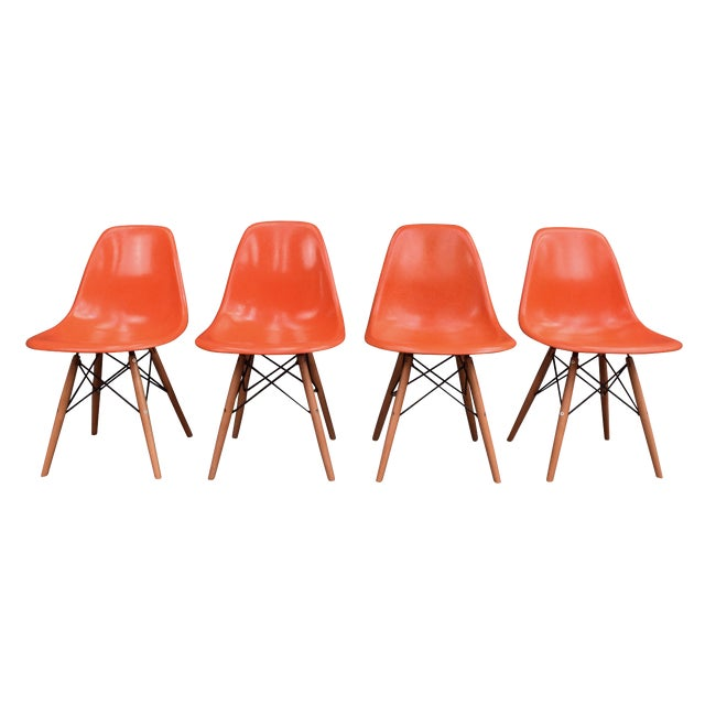 Vintage Fiberglass Charles Eames for Herman Miller Chairs - Set of 4 For Sale