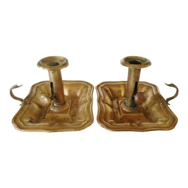 Brass Bedchamber Candlesticks - a Pair For Sale