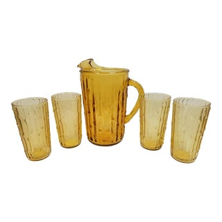 Vintage Amber Glass Pitcher and Tumblers - Set of 5 For Sale