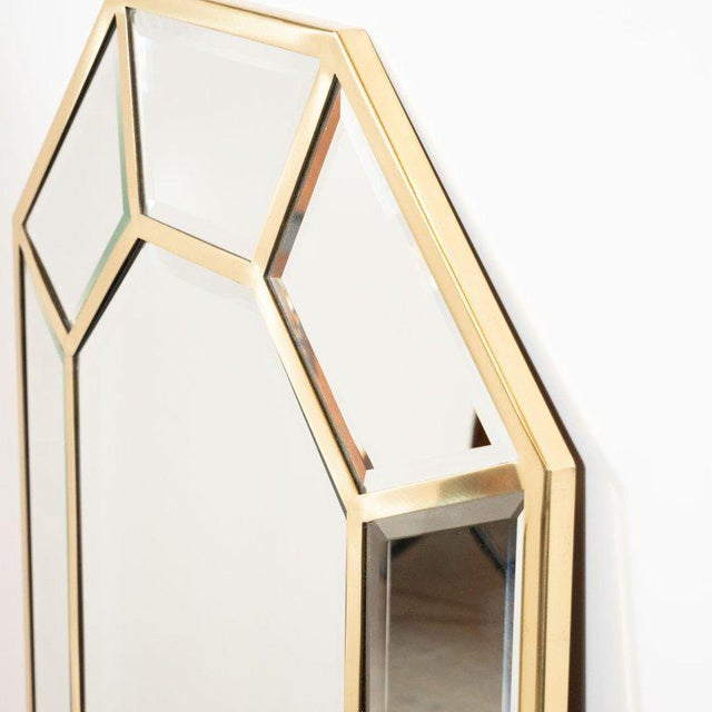 Late 20th Century Mid-Century Modern Segmented Octagonal Polished Brass Mirror For Sale - Image 5 of 7