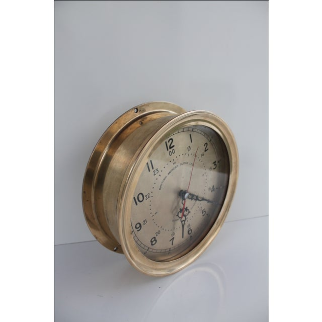 1940´s Nautical Round Solid Brass Wall Clock For Sale - Image 7 of 10