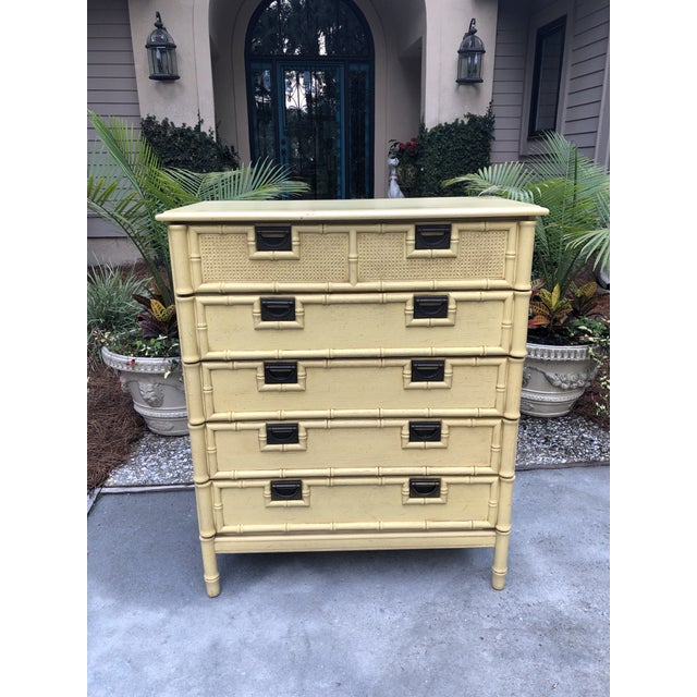 Stanley Yellow Faux Bamboo Dresser For Sale - Image 12 of 13