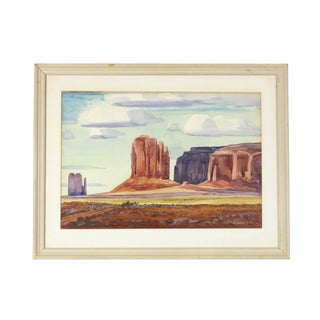 1972 Vintage Monument Valley Utah Watercolor Painting For Sale