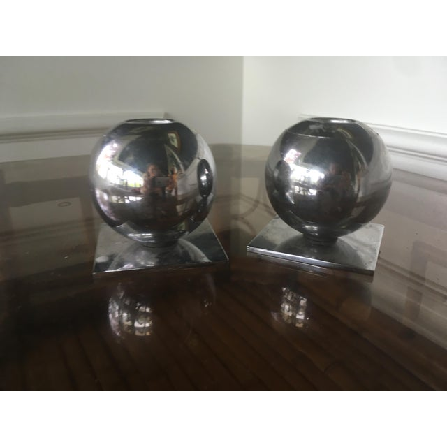 1930s 1930s Vintage Art Deco Chase Chrome Spherical Candlesticks - a Pair For Sale - Image 5 of 7