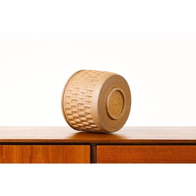 Christian Boehr Ceramic Stoneware Planter — Small Weave Pattern — Raw Exterior | Glazed Interior — P20 For Sale - Image 4 of 6