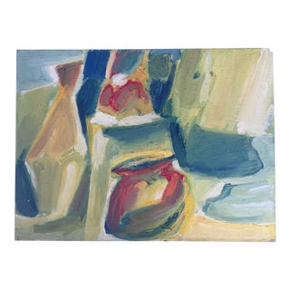 Mid-Century Still Life Painting on Board For Sale