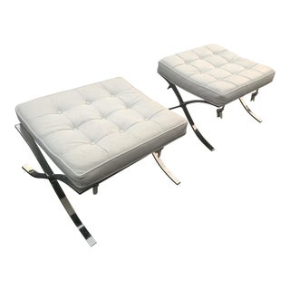 Vintage Mid-Century Barcelona Ottomans - A Pair For Sale