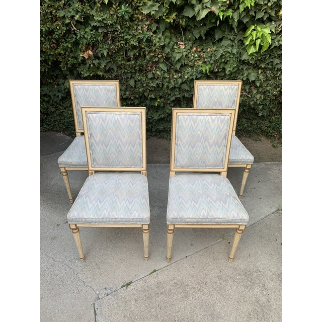 Hollywood Regency Dining Chairs With Blue Upholstery - Set of 4 For Sale In Los Angeles - Image 6 of 8