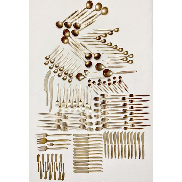 Metal 1960's Solid Brass Flatware Set of 142 Pieces For Sale - Image 7 of 7