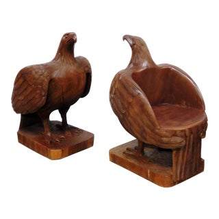 Antique Carved Eagle Chairs - a Pair