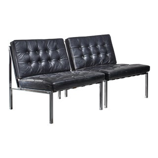 Pair of Kurt Thut Side Chairs with Black Leather Tufted Cushions For Sale