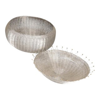 1980s Vintage Early Michael Aram Woven Wire Baskets - Set of 2 For Sale