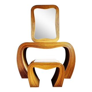 Vintage Pencil Reed Bamboo Console Desk With Coordinating Mirror and Stool - Set of 3 For Sale