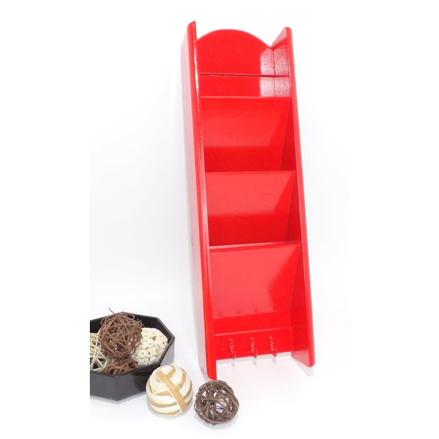 Mid-Century Modern Red Mail Key Slot Organizer For Sale - Image 9 of 11