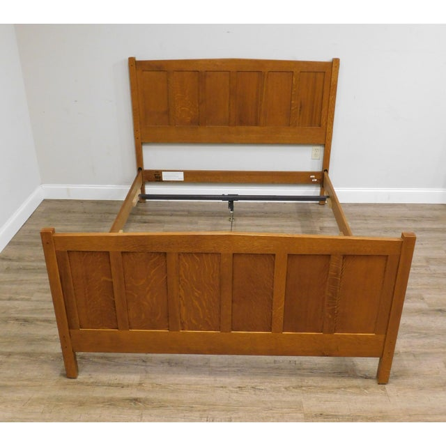 Brown Stickley Mission Collection Oak Queen Size Panel Bed For Sale - Image 8 of 13