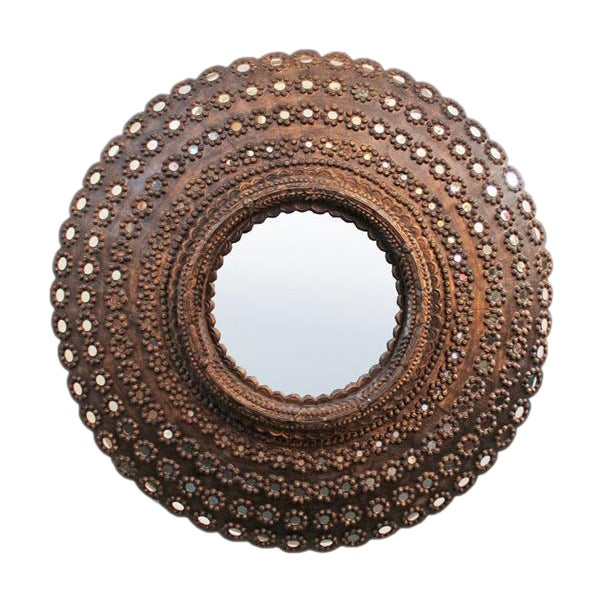Round Peacock Mirror Frame - Image 1 of 2