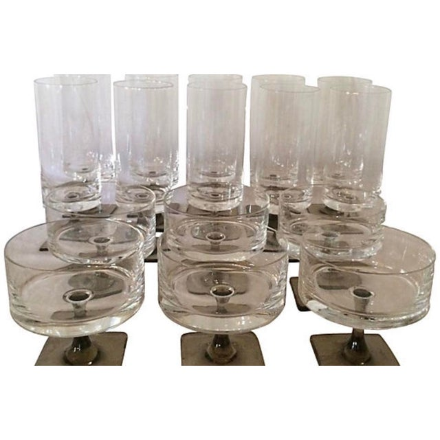 "Rosenthal Linear stemware set consisting of 10 goblets and 6 champagne glasses. Signed ""Rosenthal"". Champagne glasses,..."