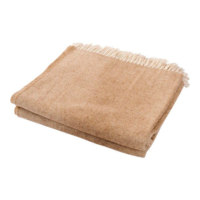 Contemporary Merino Wool Collection Sepia Throw For Sale