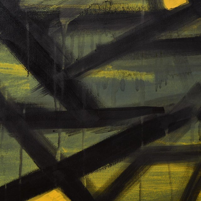 "Contemporary ""Jaune"" Acrylic on Canvas Painting For Sale - Image 3 of 6"