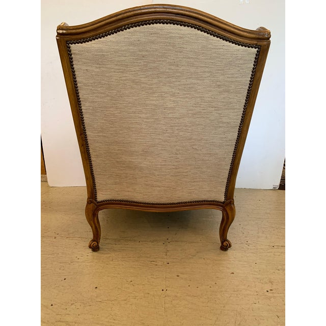 Handsome Louis XV Style Bergere With Neutral Taupe Rose Tarlow Upholstery For Sale - Image 10 of 12