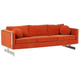 Milo Baughman Orange Mohair Chrome Frame Sofa For Sale