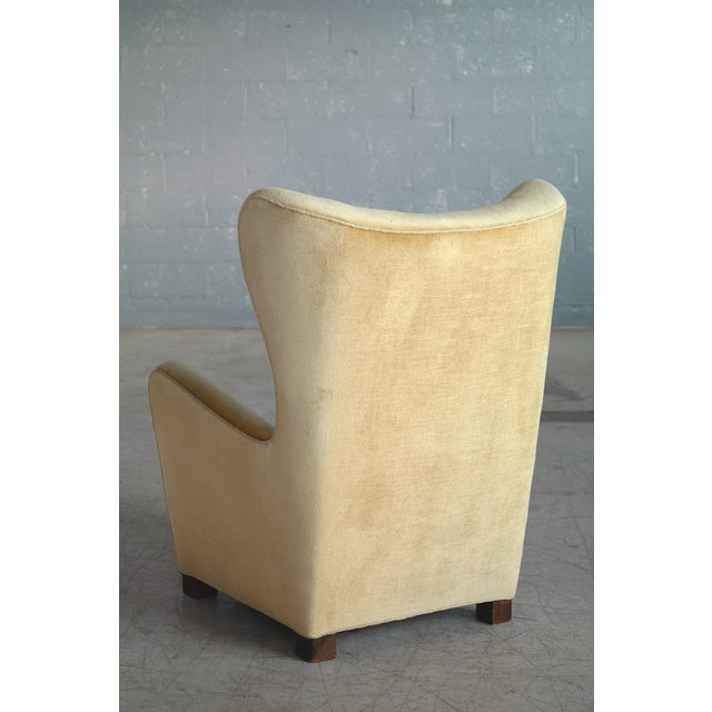 Fritz Hansen Model 1672 Highback Mohair Lounge Chair Danish Midcentury 1940's For Sale - Image 9 of 14