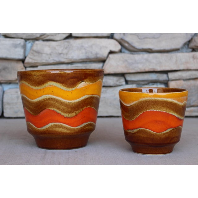 Boho Chic Mid-Century Ceramic Planters - A Pair For Sale - Image 3 of 10