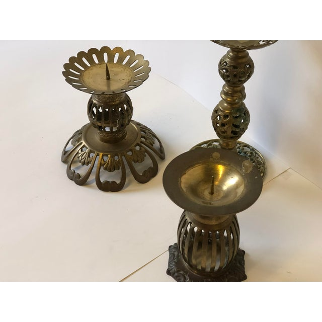 1970s Brass Bohemian Candlesticks - Set of 3 For Sale In Atlanta - Image 6 of 11