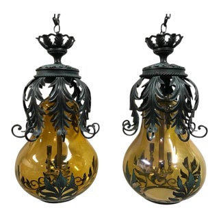 "Mid Century Vintage XL ""Gourd"" Style Blown Art Glass Pendant Hanging Lamps For Sale"