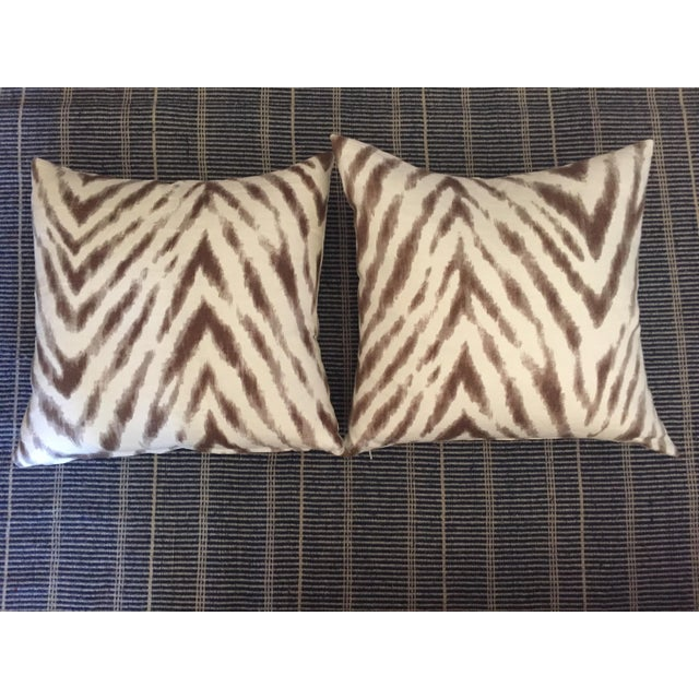 Barclay Butera Brown & White Zebra Pillows - Pair For Sale In San Francisco - Image 6 of 6