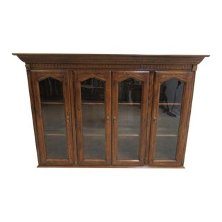 Ethan Allen Charter Oak Jacobean China Cabinet Breakfront Hutch Top For Sale