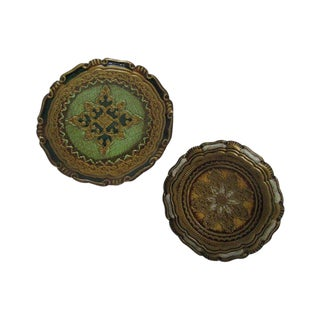 1950s Florentine Round Gold Trays - a Pair For Sale