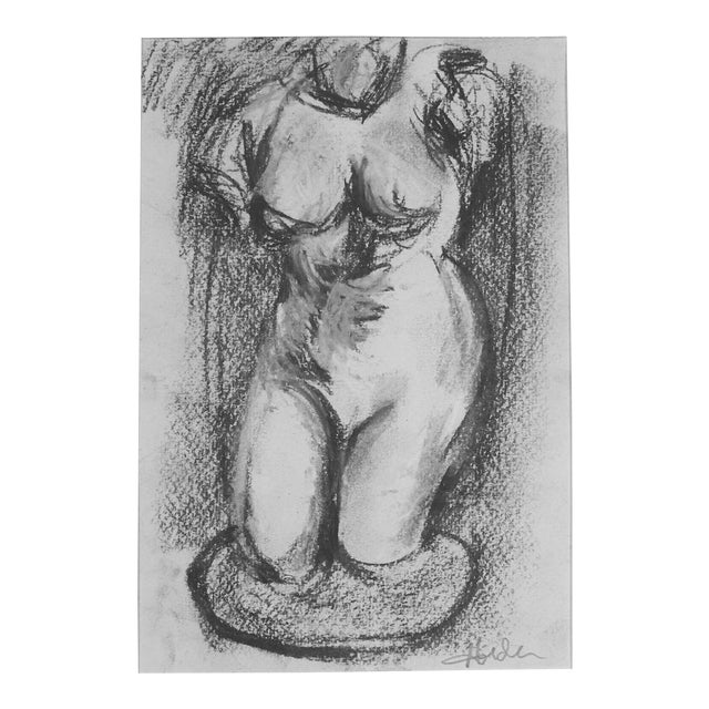 Hellenistic Statue Charcoal Drawing - Image 2 of 5
