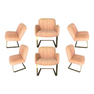 1970s Milo Baughman Thayer Coggin Flat Bar Upholstered Dining Chairs - Set of 6 For Sale