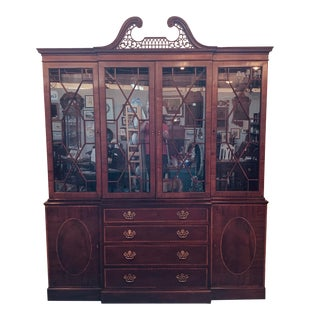 Baker Furniture Inlaid Breakfront China Cabinet For Sale
