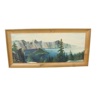 Vintage Oil on Board Landscape of Mountain Lake by Merrill