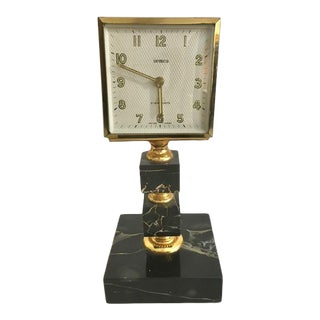 Vintage Art Deco Table Top Brass and Veined Black Marble Clock For Sale